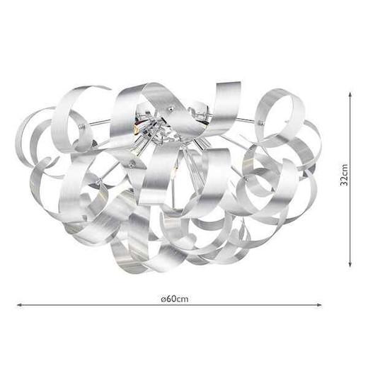 Rawley 5 Light Brushed Aluminium Metal Ribbon Flush Ceiling Light