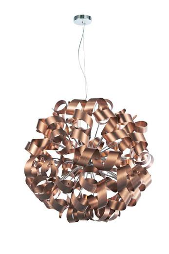 Rawley 12 Light Brushed Copper Metal Ribbon Pendant Light