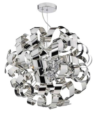 Rawley 9 Light Polished Chrome Metal Ribbon Pendant Light
