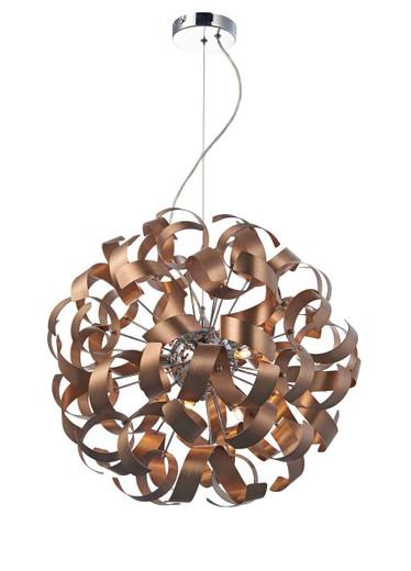 Rawley 9 Light Brushed Copper Metal Ribbon Pendant Light