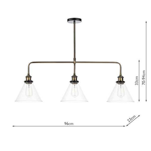 Ray 3 Light Antique Brass and Clear Glass Bar Pendant Light