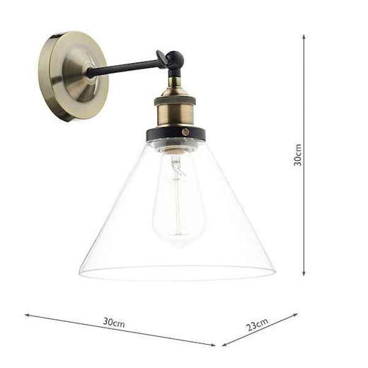 Ray 1 Light Antique Brass and Clear Glass Wall Light