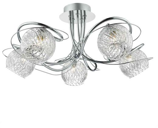 Rehan 5 Light Polished Chrome and Glass Semi Flush Ceiling Light
