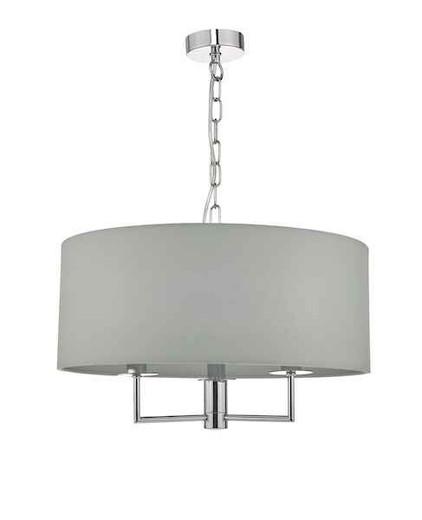Jamelia 3 Light Polished Chrome & Grey Fabric Shade Pendant Light