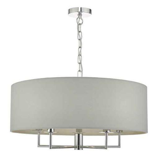 Jamelia 5 Light Polished Chrome & Grey Fabric Shade Pendant light
