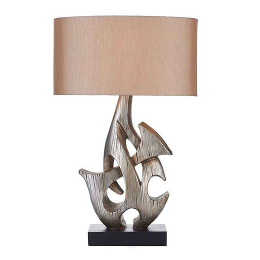 Sabre Silver Wooden with Shade Table Lamp
