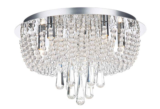 Saigon 5 Light Polished Chrome Clear Crystal Glass Flush Ceiling Light