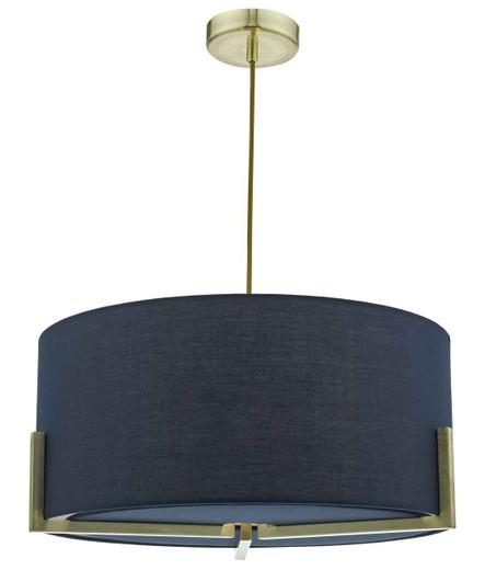 Santino Gold with Navy Cotton Shade Pendant Light