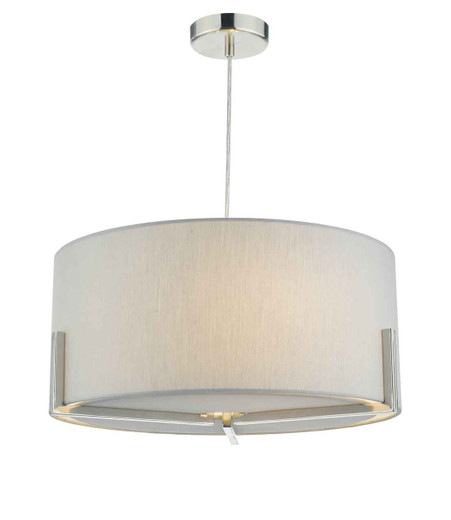Santino Satin Chrome with Grey Cotton Shade Pendant Light