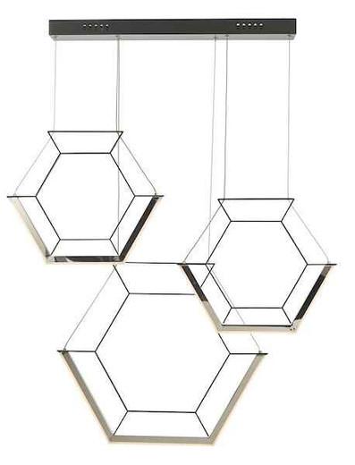 Hexagon 3 Light Black LED Pendant Light