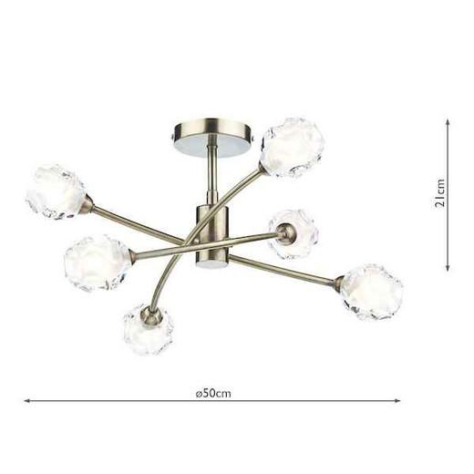 Seattle 6 Light Antique Brass Semi Flush Pendant Light