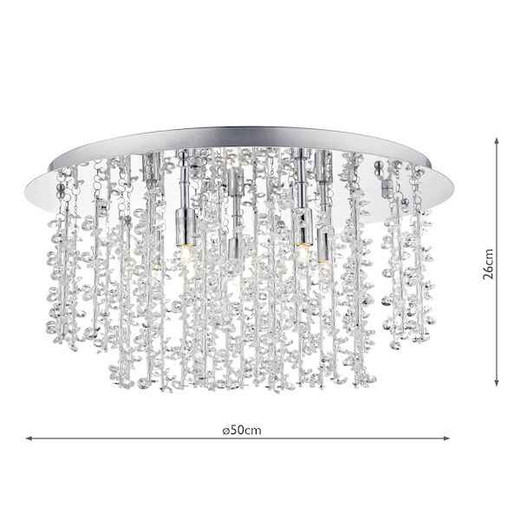 Sestina 5 Light Decorative Rods with Crystal Beads Flush Ceiling Light