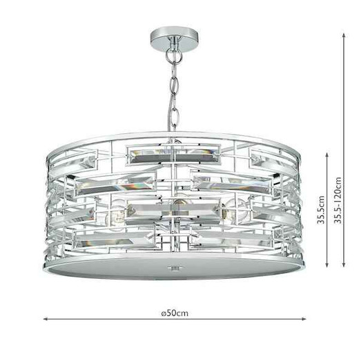 Seville 6 Light Crystal and Polished Chrome Pendant Light with Diffuser