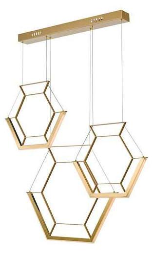Hexagon 3 Light Gold LED Pendant Light