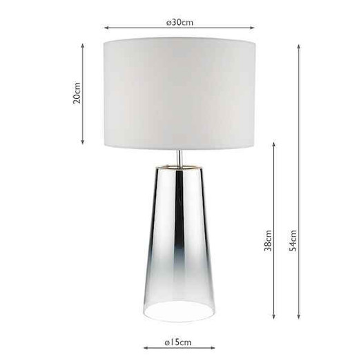 Smokey Graduated Chromed Glass with White Cotton Shade Table Lamp