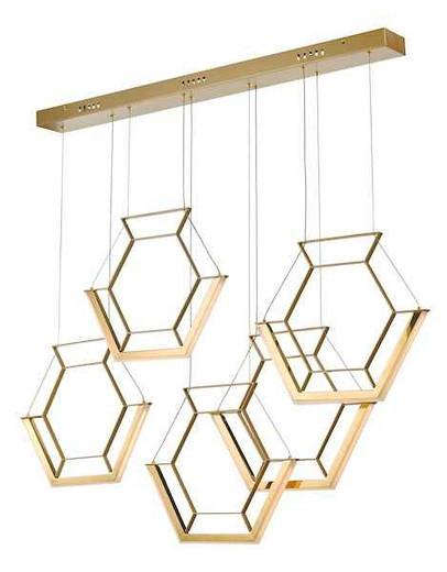 Hexagon 5 Light Gold LED Pendant Light