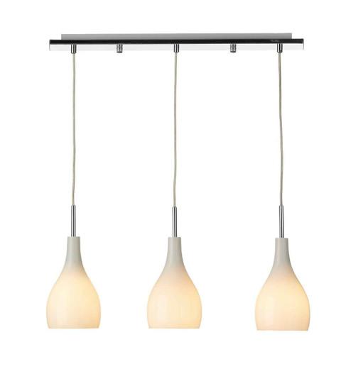 Soho 3 Light White Glass Bar Pendant Light