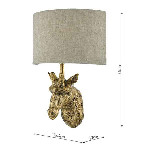Sophie Gold Giraffe with Natural Linen Shade Wall Light