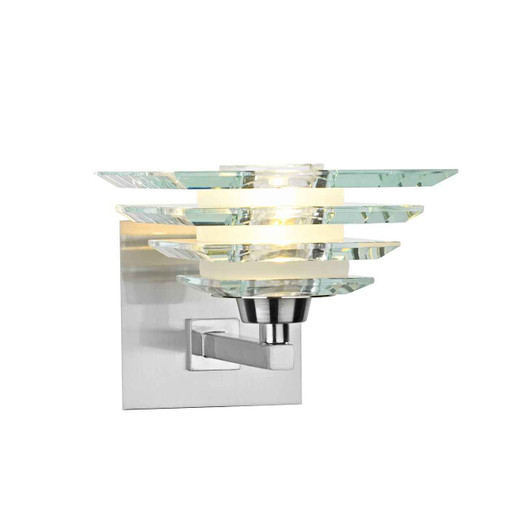 Stirling Satin Nickle and Layered Glass Single Wall Light
