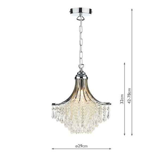 Suri Polished Chrome with Clear Crystal Glass Beads Pendant Light