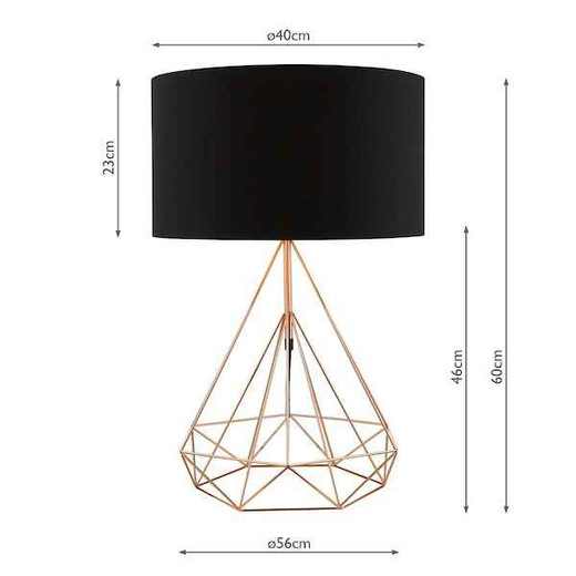 Sword Copper Wire with Black Cotton Shade Table Lamp
