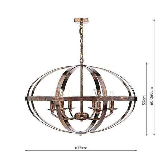 Symbol 6 Light Petrol Copper Feature Pendant Light