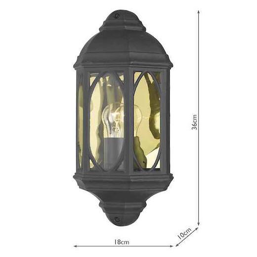 Tenby Matt Blackwith Bevelled Glass IP43 Wall Light