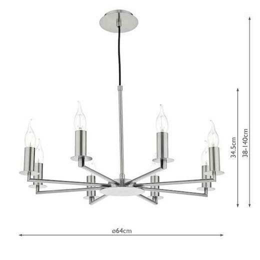 Tyler 8 Light Satin Nickel Pendant Light