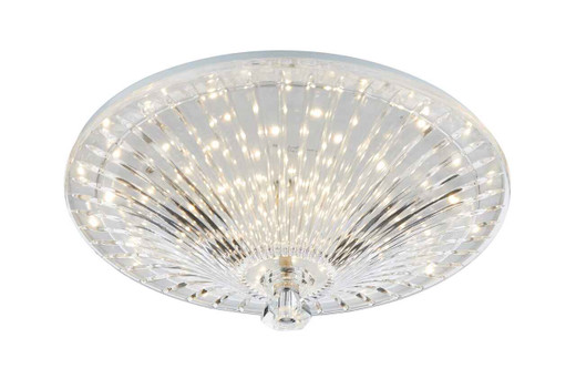 Vincent Clear Glass Shade and Crystal Finial LED Flush Ceiling Light