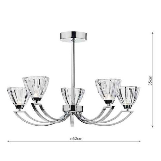 Vito 5 Light Polished Chrome and Crystal Glass Semi Flush Ceiling Light