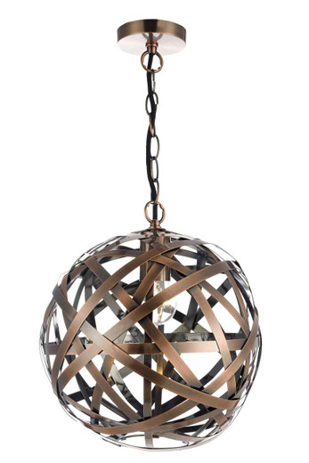 Voyage 1 Light Woven Antique Copper Ball Pendant Light