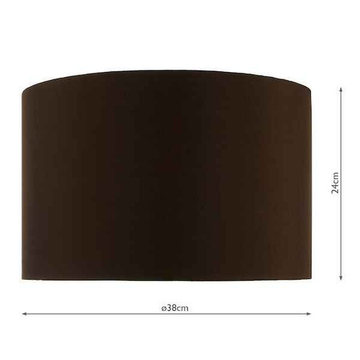 38cm Brown Faux Silk Drum Shade Only