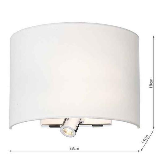Wetzlar Polished Chrome with White Cotton Shade Reading Light Wall Light