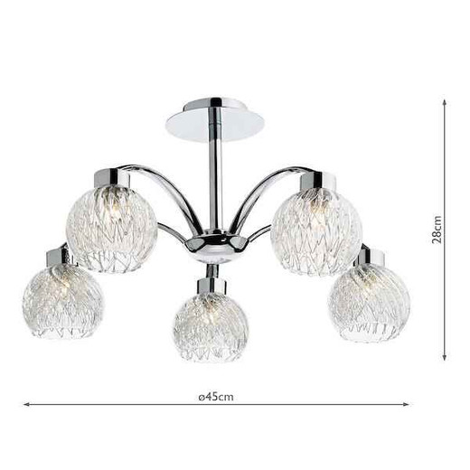 Yasmin 5 Light Polished Chrome Semi Flush Pendant Light