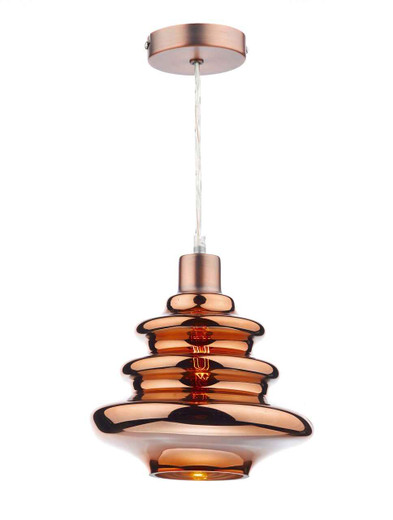 Zephyr Copper Electro Plated Glass Easy Fit Pendant Light