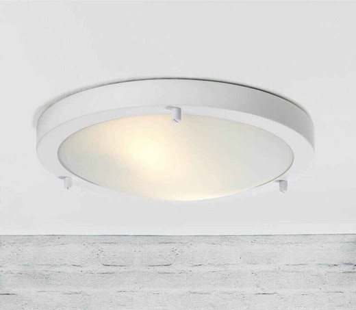 Ancona Maxi LED White Metal with Opal White Glass Ceiling Light