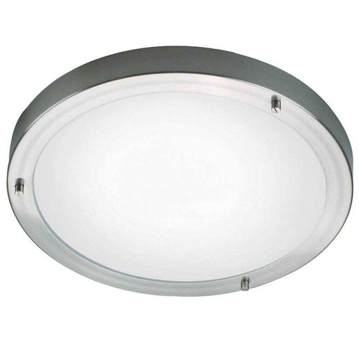 Ancona Maxi LED Brushed Steel Opal White Ceiling Light