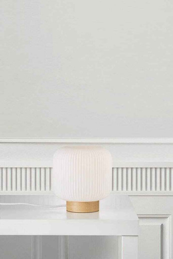 Milford Brown with Opal White Glass Table Lamp