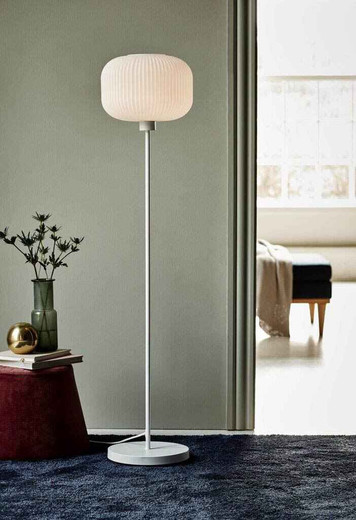 Milford White with Opal White Glass Floor Lamp