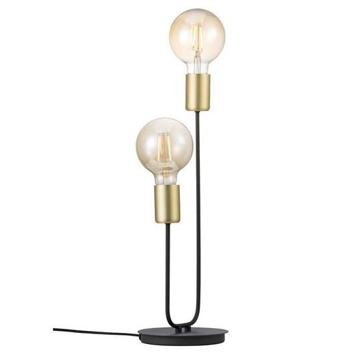 Josefine 2 Light Matt Black with Brass Glass Table Lamp