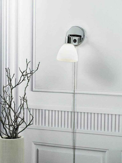 Ray Chrome with Opal White Glass Adjustable Wall Light