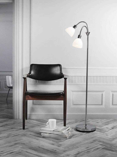 Ray Twin Headed Chrome with Opal White Glass Floor Lamp