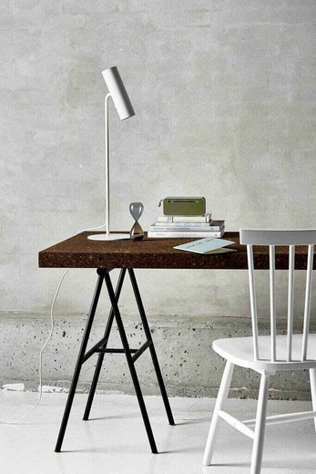 MIB 6 White Metal with White Cable Table Lamp