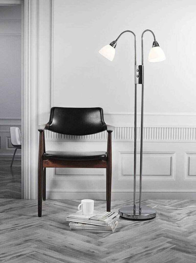 Ray Dim Twin Headed Chrome with White Glass Floor Lamp