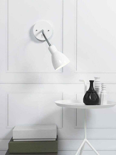 Cyclone Adjustable Flexi White and Chrome Wall Light with Switch