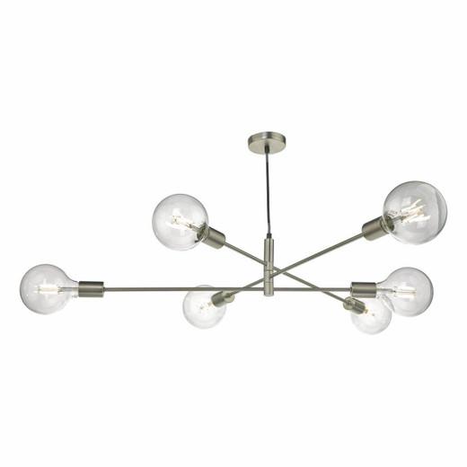 Dar Lighting Alana 6 Light Satin Chrome Pendant Light