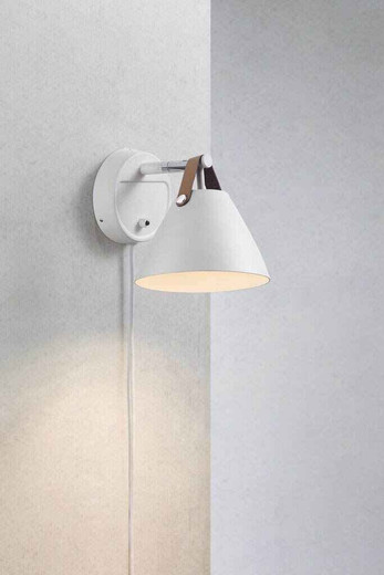 Strap 15 White with Brown Leather Strap Detail Wall Light