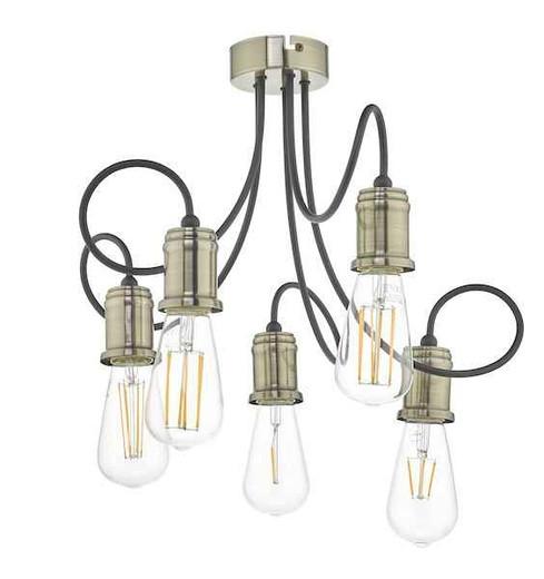 Alzbet 5 Light Antique Brass & Black Semi Flush Pendant Light