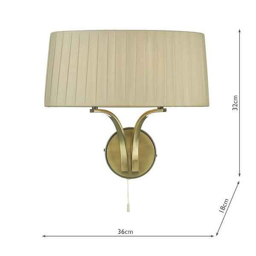 Cristin 2 Light Antique Brass with Taupe Shade Wall Light