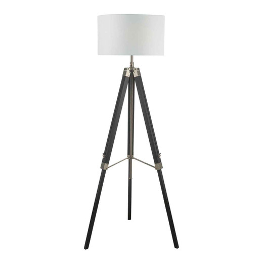 Easel Black and Satin Nickel Tripod Floor Lamp Base Only